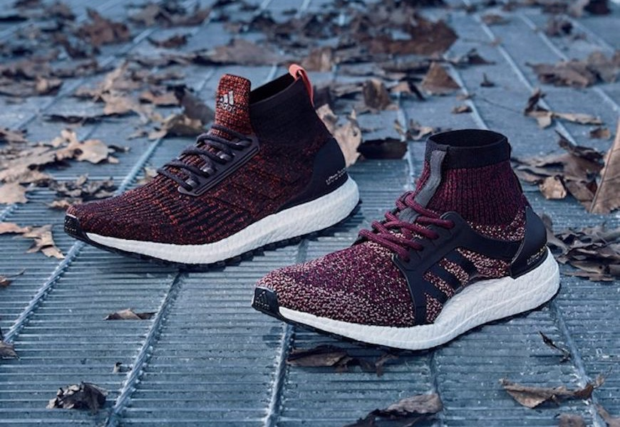 Above: Ultra Boost All Terrain in a dark burgundy colourway