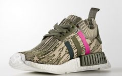 Above: The NMD R1 with a camo pattern and pink stripe