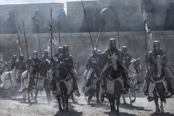 Above: Knights Templar ride into battle in History's 'Knightfall'