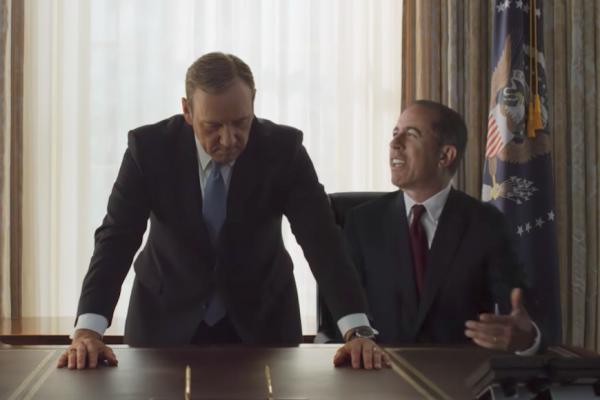 Above: Jerry Seinfeld crashes 'House of Cards' in new ad