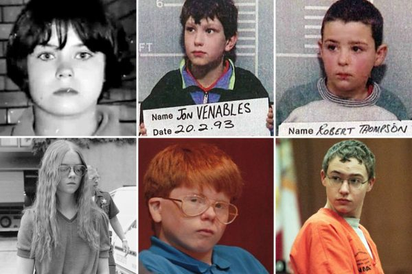 Above, top row (L-R): Mary Bell, Jon Venables, and Robert Thompson / Above, bottom row (L-R): Brenda Spencer, Eric Smith, and Josh Phillips