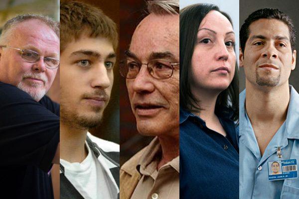 "Above: Kirk Bloodsworth, Ryan Ferguson, Steven Truscott, Kirsten ""Blaise"" Lobato, and Juan Rivera"