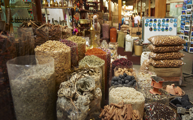 Above: The traditional markets of Dubai: Explore a wide range of textile, gold and spice souks