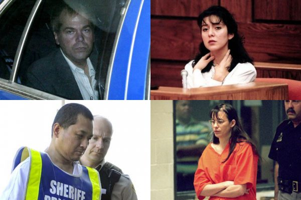 Above (clockwise): John Hinckley Jr., Lorena Bobbitt, Andrea Yates and Vincent Li