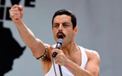 Above: Rami Malek portrays Freddie Mercury during his iconic Live Aid performance