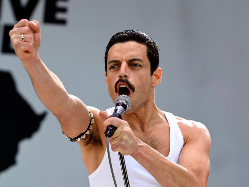 Above: Rami Malek portrays Freddie Mercury during his iconic Live Aid performance