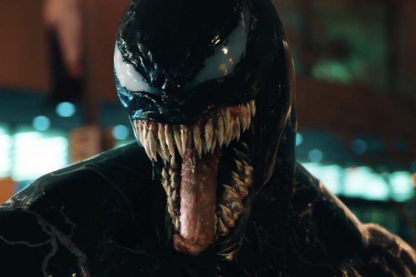 Above: Tom Hardy wears the infamous Venom suit