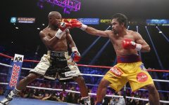 Above: Mayweather and Pacquiao duke it out at the Grand Garden Arena in Las Vegas, NV (May 2, 2015)