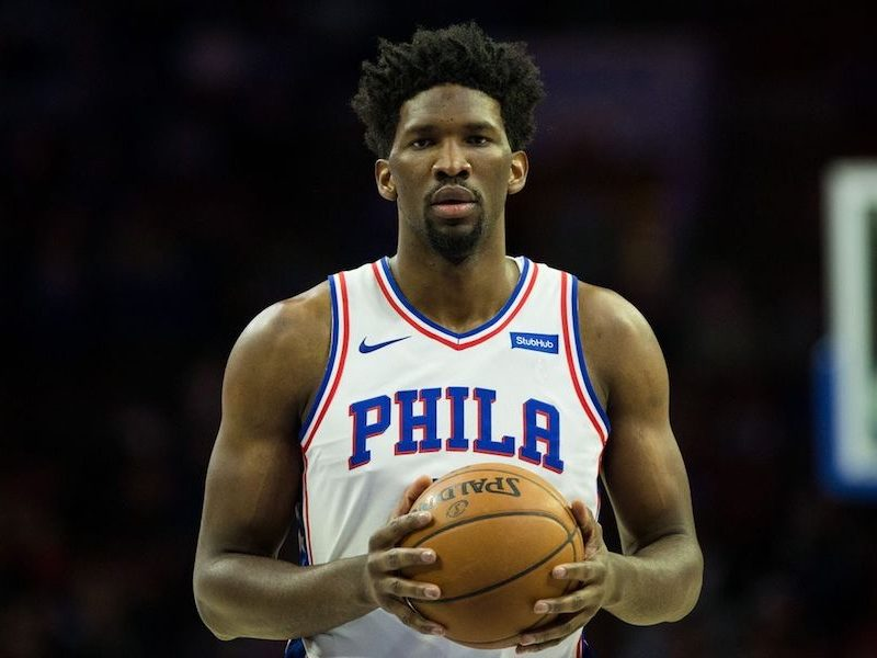 Above: Philadelphia 76ers centre, Joel Embiid, lines up for a free throw