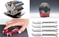Why not give one of these cool car-related gifts: Espresso Veloce coffee maker, Disc-brake coasters, Car mouse or Cutlery wrench set