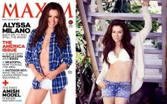 Alyssa Milano appears on the July/August 2013 cover of Maxim