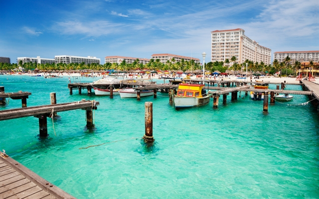 Above: Dock on Palm Beach, Aruba (Photo: Shutterstock/Jo Ann Snover)