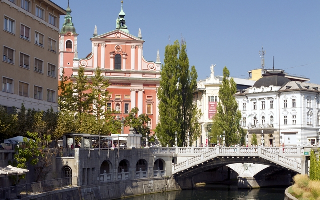 The Franciscan Church of the Annunciation, Triple Bridge in Ljubljana, Slovenia (Photo: Anthony Shaw Photography/Shutterstock)