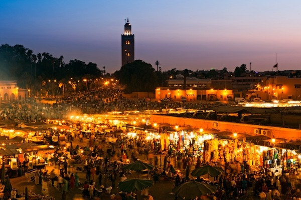 Above: The Jemaa el Fna Square at sunset in Marrakesh, Morocco (Photo: posztos/Shutterstock)