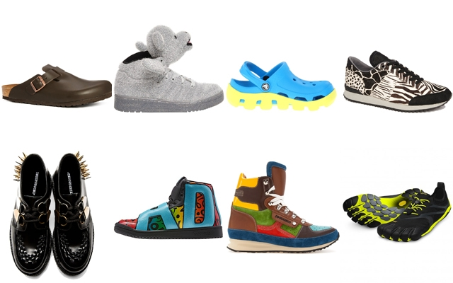 Above: Birkenstocks, crocs and spikes oh gawd!
