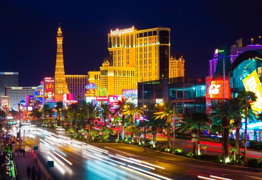 Above: The Las Vegas Strip in downtown Las Vegas