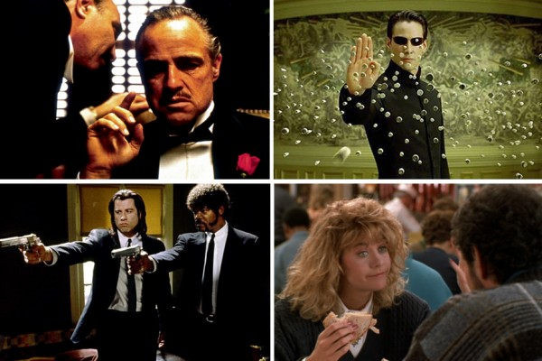 Above (clockwise): The Godfather, The Matrix, When Harry Met Sally and Pulp Fiction
