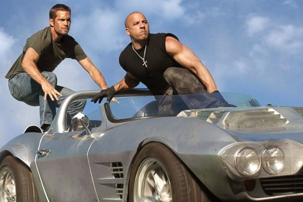 Above: Paul Walker and Vin Diesel in 'Furious 7'