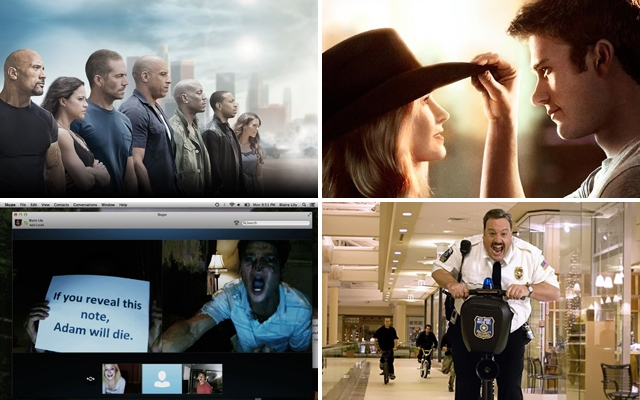 Above (clockwise): 'Furious 7', 'The Longest Ride', 'Paul Blart: Mall Cop 2' and 'Unfriended' all hit theatres in April