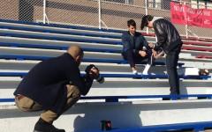 Above: On location shooting AmongMen's Varsity-themed Fashion Editorial