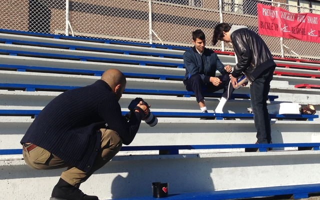 Above: On location shooting AmongMen's Varsity-themed Fashion Editorial