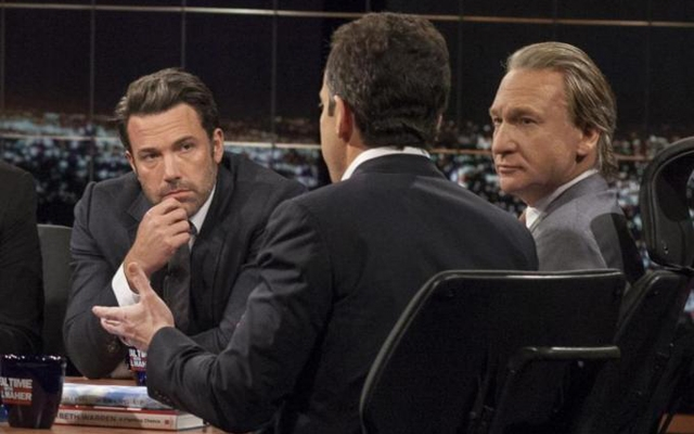 Above: Ben Affleck and Bill Maher look on as Sam Harris speaks during 'Real Time With Bill Maher'