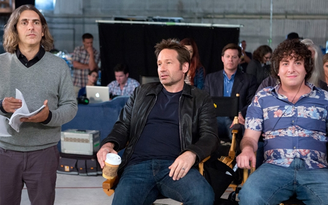 Above: Rath, Hank and Levon on set (Photo: Showtime)