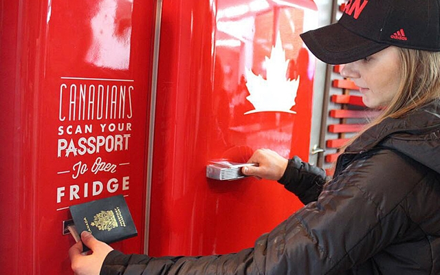 Above: A beer fridge in Olympic Village opens only with Canadian passport (Photo courtesy: Molson Canadian)