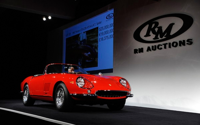 Above: The Ferrari 275 GTB/4*S N.A.R.T. Spider on the auction block (Eugene Robertson/RM Auctions)