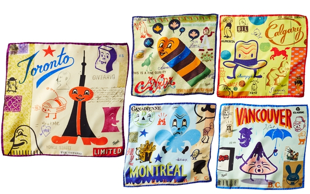 Above: Gary Taxali's Canadiana-themed pocket squares, exclusive to Harry Rosen
