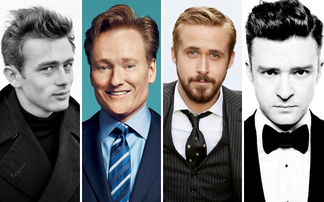 Celebrity quiff inspiration from: James Dean, Conan O'Brien, Ryan Gosling and Justin Timberlake