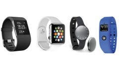 Above (L-R): the FitBit Surge, the Apple Watch, the Misfit Shine and the Runtastic Orbit