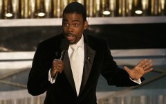 Above: It's take two for Chris Rock at the Oscars