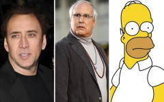 Above: Nicholas Cage, Chevy Chase and Homer Simpson