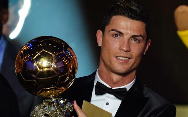 Above: Cristiano Ronaldo accepts the 2013 FIFA Ballon d'Or