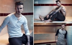 Above: Beckham models his latest line of H&M Bodywear in an old-style sports changing room (Courtesy of: H&M)