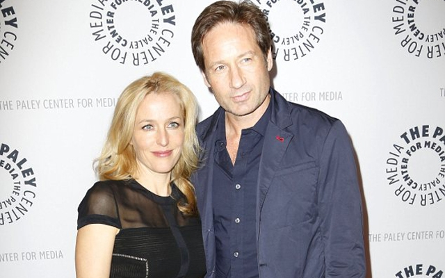 Gillian Anderson and David Duchovny on the red carpet at 'The Truth Is Here: David Duchovny And Gillian Anderson On The X-Files' at the Paley Center For Media in New York City