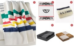 Above: 1) The Hudson Bay blanket, $395 / 2) Timberline blanket from Pendleton, $350 / 3) Military blanket from Faribault, $200 / 4) Gettysburg blanket from Woolrich, $115 / 5) Avalon blanket from Hermès, $3225