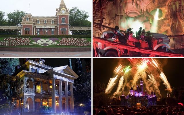 Above: Disneyland L-R: The Disneyland entrance, Indiana Jones Adventure, Haunted Mansion and Disney's Spectacular Fireworks above Sleeping Beauty Castle