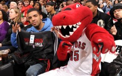 Above: Drake sits courtside as the Toronto Raptors host the Washington Wizards in December 2010 at the Air Canada Centre in Toronto (Ron Turenne/NBAE)