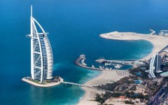 Above: The Burj Al Arab hotel in Dubai, UAE. Burj Al Arab is a luxury 5 star hotel built on an artificial island in front of Jumeirah beach