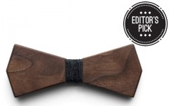 "(Above: BÖ by Mansouri's ""Arrow Dark"" wooden bow tie is made with North American walnut, Israeli leather & artisanal Austrian paper twine)"