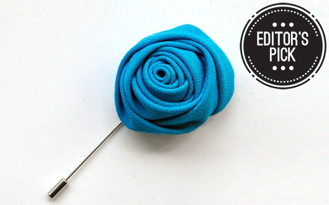 Above: Just Sultan's fabric flower lapel pin