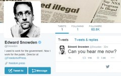 Above: Fugitive US intelligence contractor Edward Snowden has opened up a Twitter account