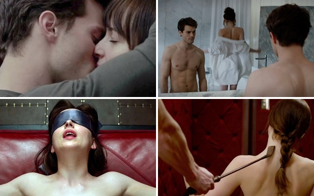 Above: Jamie Dornan and Dakota Johnson star in the upcoming film adaptation of 'Fifty Shades of Grey'