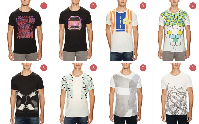 Above: 1) Anna Sui 'Psychedellc Nouveau' Mustang Unleashed T-Shirt. 2) Anna Sui 'Airbrushed' Mustang Unleashed T-Shirt. 3) CO|TE 'Sunny' Mustang Unleashed T-Shirt. 4) CO|TE 'Grid' Mustang Unleashed T-Shirt. 5) Paula Cademartori ' Freedom' Mustang Unleashed T-Shirt. 6) Paula Cademartori 'Urban' Mustang Unleashed T-Shirt. 7) Rogan 'Silhouette' Mustang Unleashed T-Shirt. 8) Rogan 'Make Tracks' Mustang Unleashed T-Shirt.
