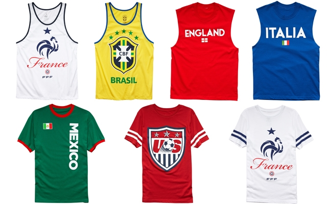 Above: Men's looks from Forever 21's limited-edition soccer collection