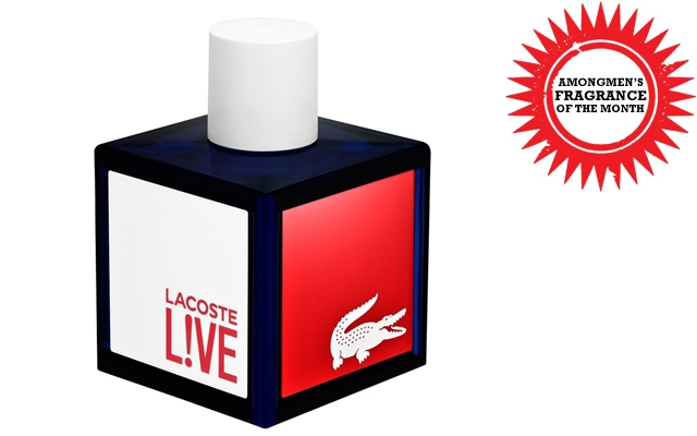 Above: This month's fragrance of the month is the newly launched Lacoste L!VE
