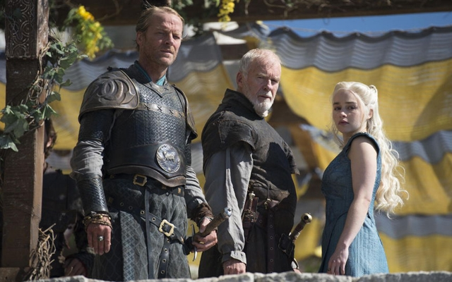 Above: Game Of Thrones' Jorah Mormont, Barristan Selmy and Daenerys Targaryen (Photo: HBO)