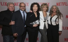 Above: The cast and creators of the Netflix comedy, 'Grace and Frankie'